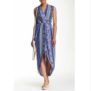 ASTR High Low Purple Floral Stripe Maxi Dress